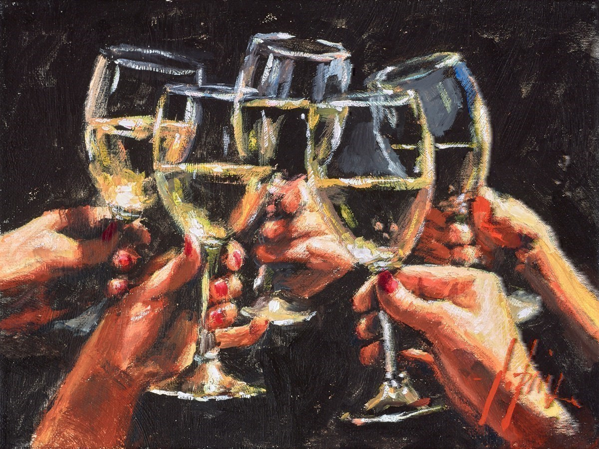 Study for Five Ladies' Hands by Fabian Perez -  sized 12x9 inches. Available from Whitewall Galleries